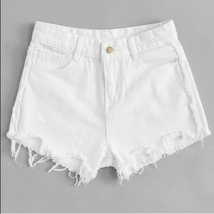 Pants - White Distressed Shorts